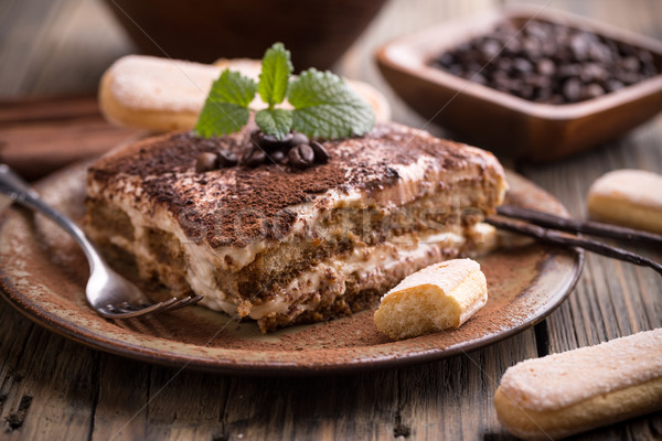 Tiramisu darab mocha bab torta szelet Stock fotó © grafvision
