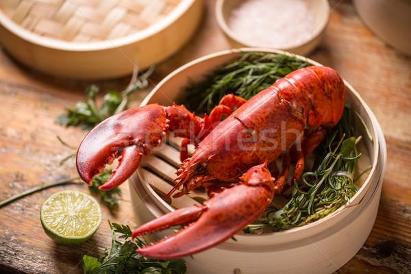 Aragosta bambù piroscafo alimentare sfondo Foto d'archivio © grafvision