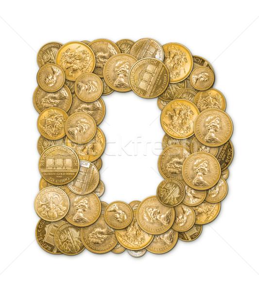 D betű arany érmék pénz izolált fehér fém Stock fotó © grafvision