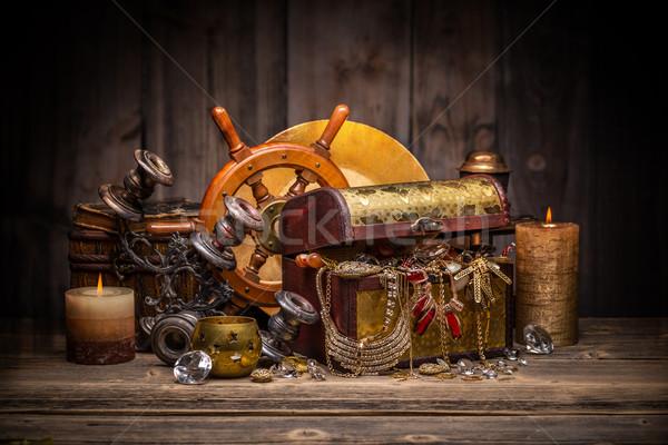 Stock photo: Composition of treasure chest