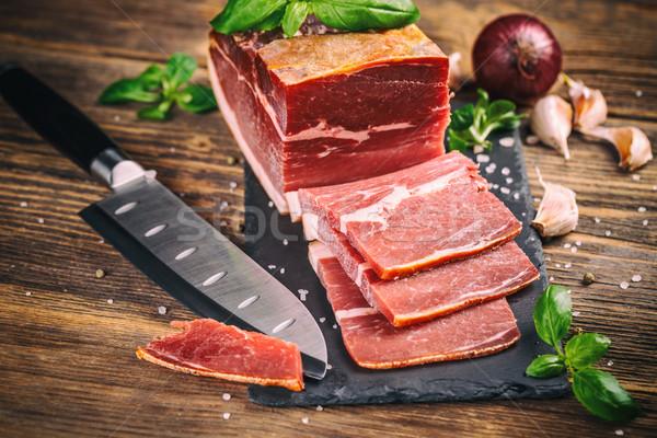 Rebanadas prosciutto edad alimentos fondo Foto stock © grafvision
