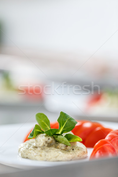 Cremoso berenjena ensalada mayonesa servido tomates Foto stock © grafvision