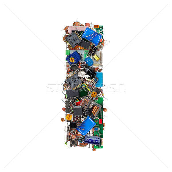 Foto stock: Letra · i · eletrônico · componentes · isolado · branco · tecnologia