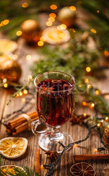 Caliente vino Navidad decoración madera Foto stock © grafvision