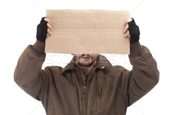 Mendiant carton texte isolé blanche Photo stock © grafvision