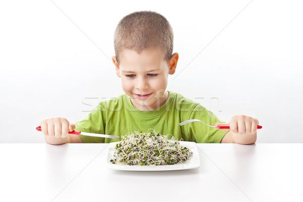 Fiú elvesz zöld étel fehér kezek Stock fotó © grafvision