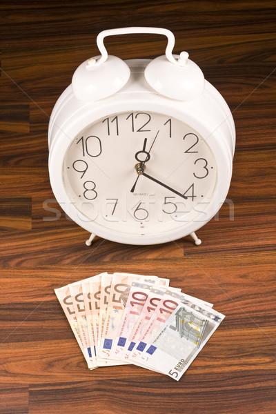 Biały retro budzik ceny drewna zegar Zdjęcia stock © grafvision