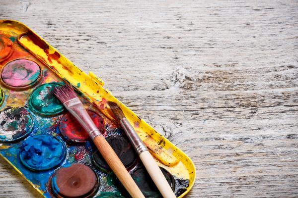 Farby polu pędzlem niechlujny używany akwarela Zdjęcia stock © grafvision