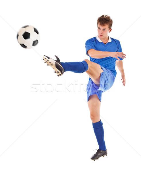 Zdjęcia stock: Piłka · odizolowany · biały · piłka · nożna · niebieski