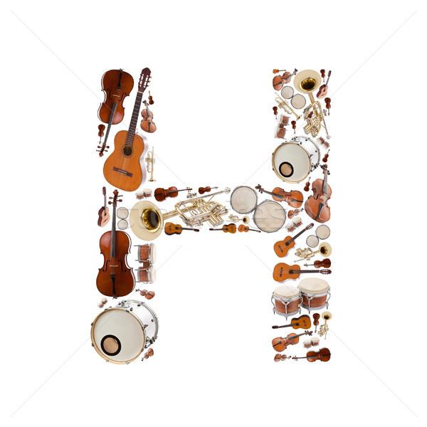 Stock fotó: Hangszerek · ábécé · fehér · h · betű · fa · gitár