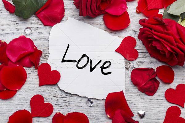 Valentin nap szeretet üzenet virág rózsa szív Stock fotó © grafvision