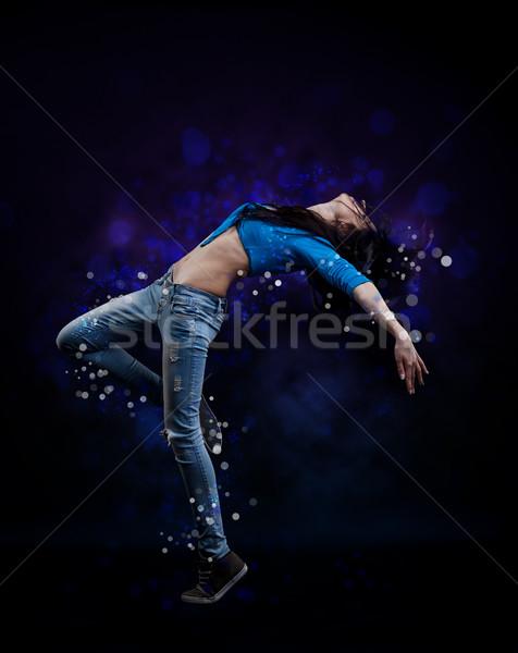 ヒップホップ ダンサー 若い女性 壁 背景 行使 ストックフォト © grafvision