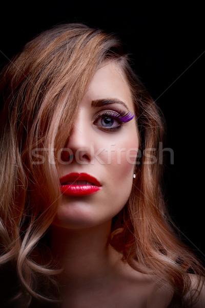 Vrouwelijke portret mooie gezicht krulhaar Stockfoto © grafvision