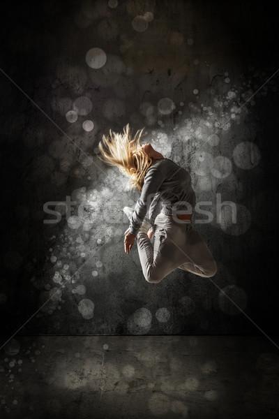 городского хип-хоп танцовщицы Гранж конкретные стены Сток-фото © grafvision
