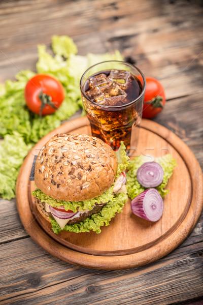 Cheeseburger top view cola ghiaccio Foto d'archivio © grafvision