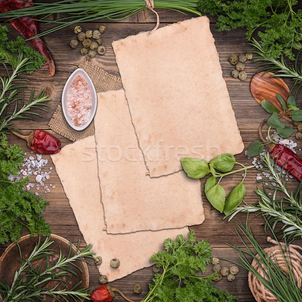 Kulinarny zielenina inny biały arkusza papieru Zdjęcia stock © grafvision