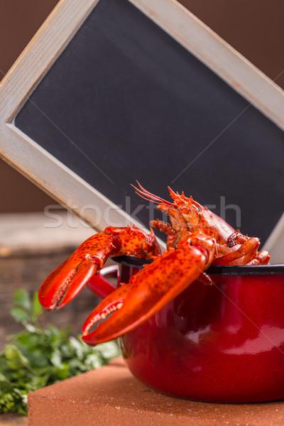 Vermelho cozinhado lagosta quadro-negro lousa almoço Foto stock © grafvision
