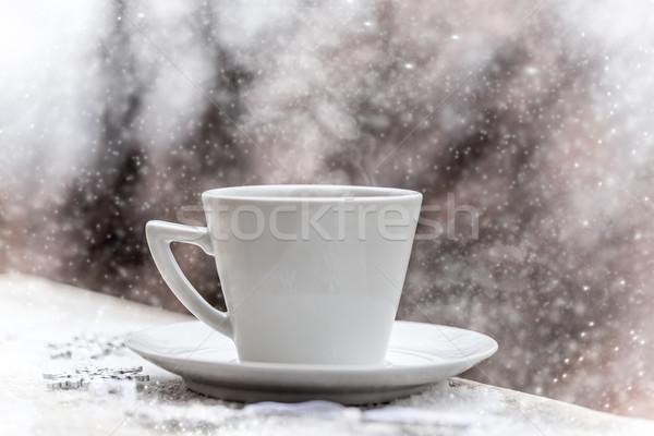 ホット 茶碗 冷ややかな 冬 日 雪 ストックフォト © grafvision