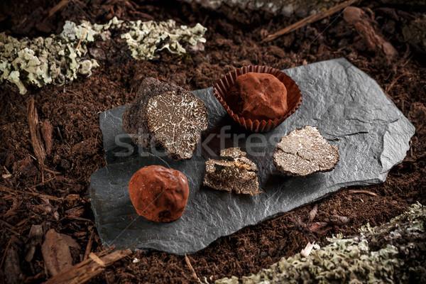 Vegan csokoládé házi készítésű egészséges étel fekete Stock fotó © grafvision