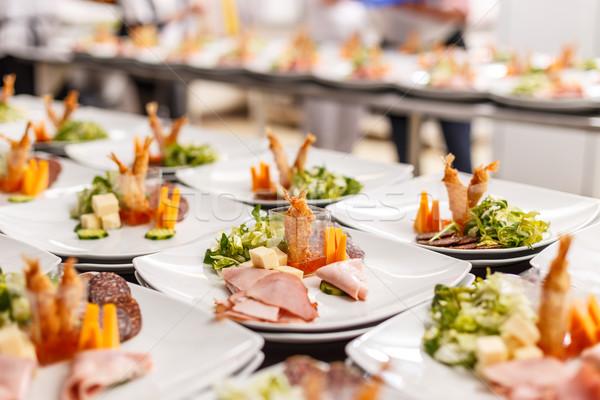 Aperitivo placas alimentos buffet lujo restaurante Foto stock © grafvision