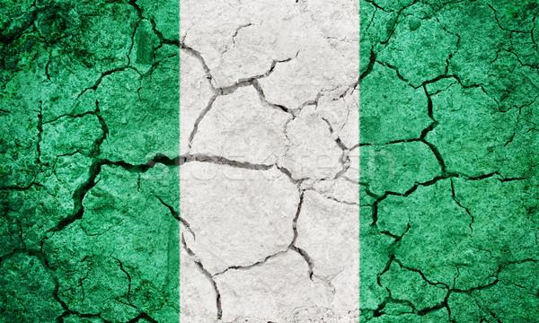 Federal cumhuriyet Nijerya bayrak kuru toprak Stok fotoğraf © grafvision