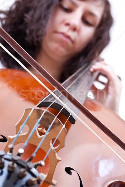 Kız oynama viyolonsel beyaz model Stok fotoğraf © grafvision