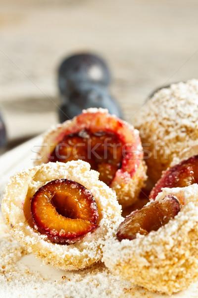 Szilva gyümölcs tányér édes edény Németország Stock fotó © grafvision
