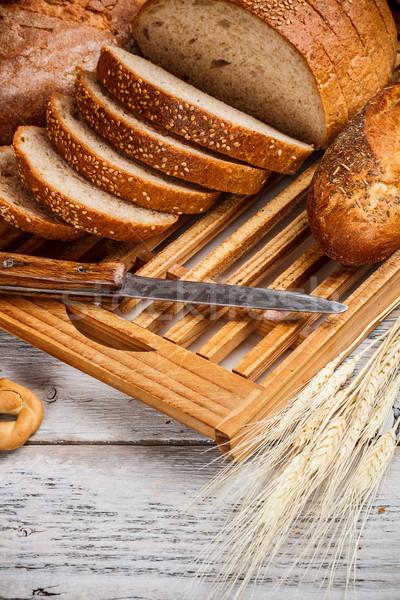 Pão pão faca conselho Foto stock © grafvision