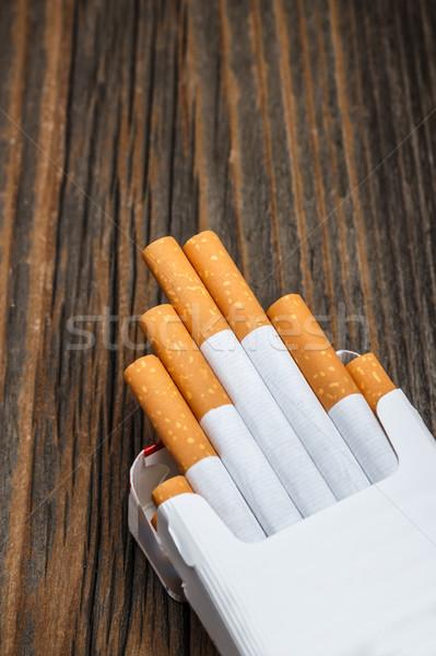Köteg cigaretta rusztikus fából készült klasszikus szivar Stock fotó © grafvision