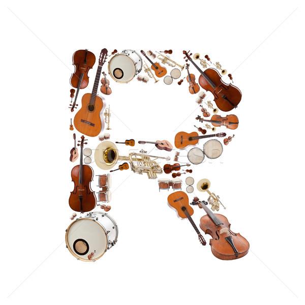 Müzik aletleri mektup alfabe beyaz ağaç Stok fotoğraf © grafvision