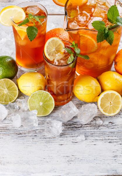 Szemüveg ice tea citrom citrus narancs jégkockák Stock fotó © grafvision