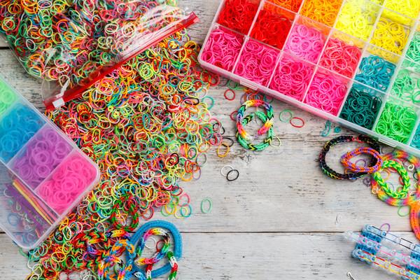 Stockfoto: Rubber · kleurrijk · regenboog · uitrusting · houten · achtergrond