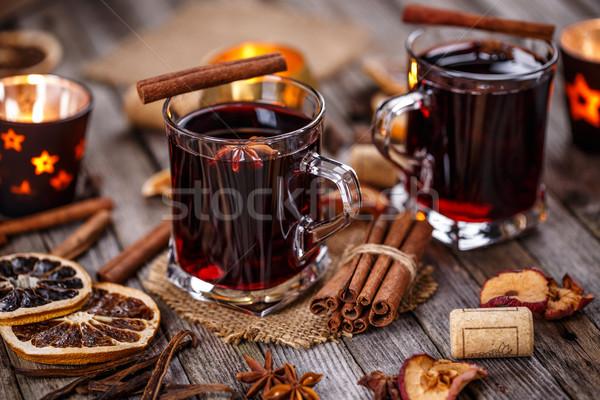 ストックフォト: ホット · ワイン · 冬 · クリスマス · ガラス · 赤