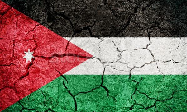 Królestwo Jordania banderą wyschnięcia ziemi ziemi Zdjęcia stock © grafvision