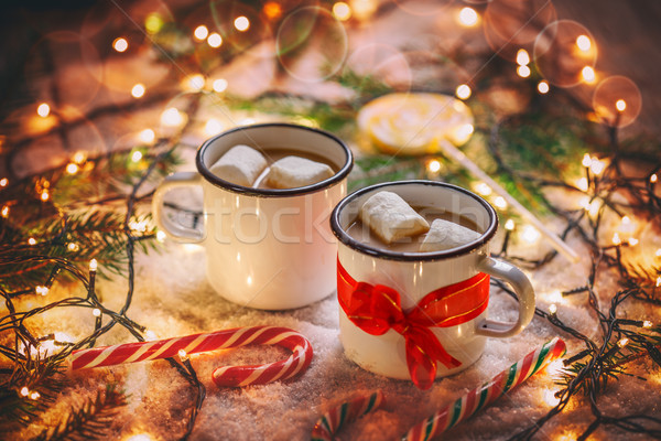 Dois chocolate quente marshmallow luz chocolate Foto stock © grafvision