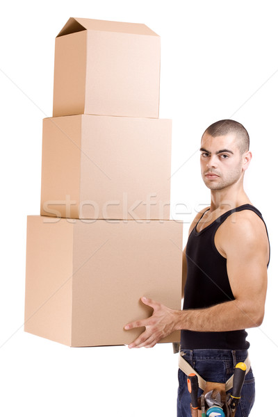 man and box Stock photo © grafvision