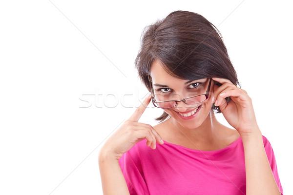 Kobiet uśmiechnięty okulary pracy Zdjęcia stock © grafvision