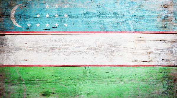 Zászló Üzbegisztán festett koszos fa palánk Stock fotó © grafvision