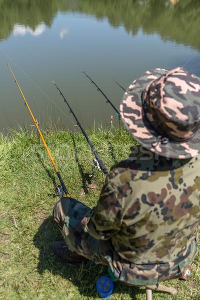 Pescador sesión lago pesca peces naturaleza Foto stock © grafvision