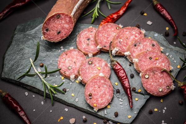 Français salami poivre fumé fond noir Photo stock © grafvision
