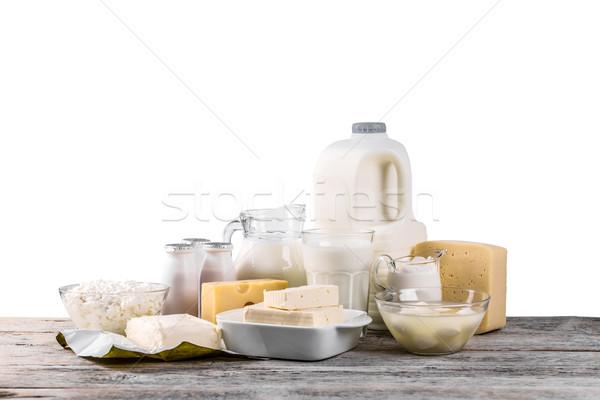 Tejtermékek fa asztal tojás asztal ital sajt Stock fotó © grafvision