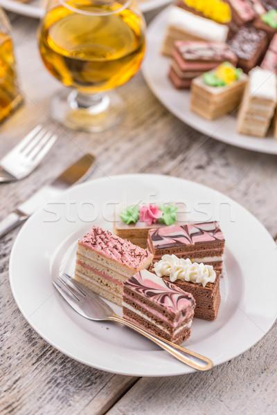 ストックフォト: ミニ · ケーキ · 異なる · クリーム · 新鮮な · 皿