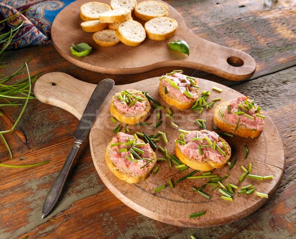 ломтик брускетта копченый свинина подготовленный свежие Сток-фото © grafvision