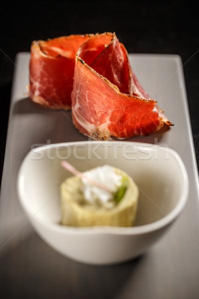 масло прошутто закуска пластина Изысканные ужины ресторан Сток-фото © grafvision