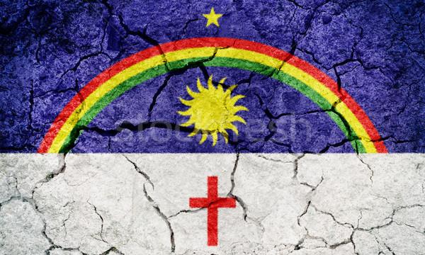 Brazilië vlag drogen aarde grond textuur Stockfoto © grafvision