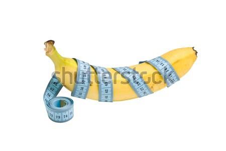 Stockfoto: Dieet · banaan · meetlint · witte · voedsel