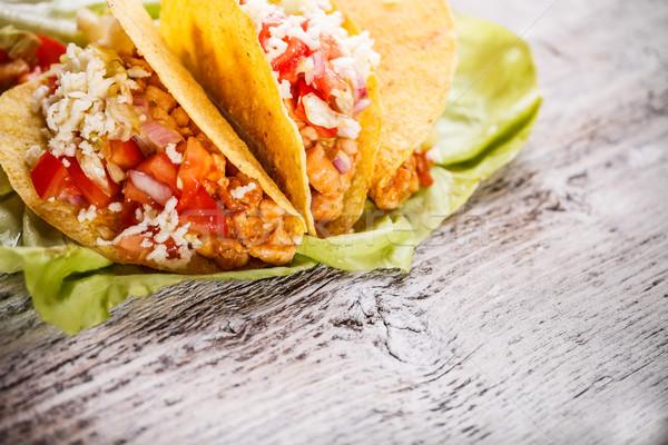 タコス シェル チキンサラダ チーズ 食品 鶏 ストックフォト © grafvision