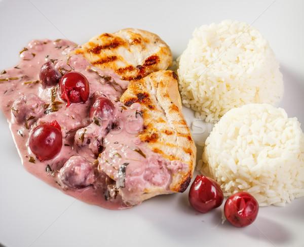 Gegrilde kip borst rijst zuur kers saus Stockfoto © grafvision