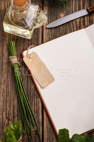 Receta libro madera cocina cuaderno petróleo Foto stock © grafvision