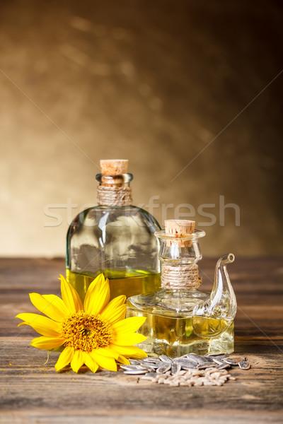 Napraforgóolaj üveg napraforgó magok étel konyha Stock fotó © grafvision